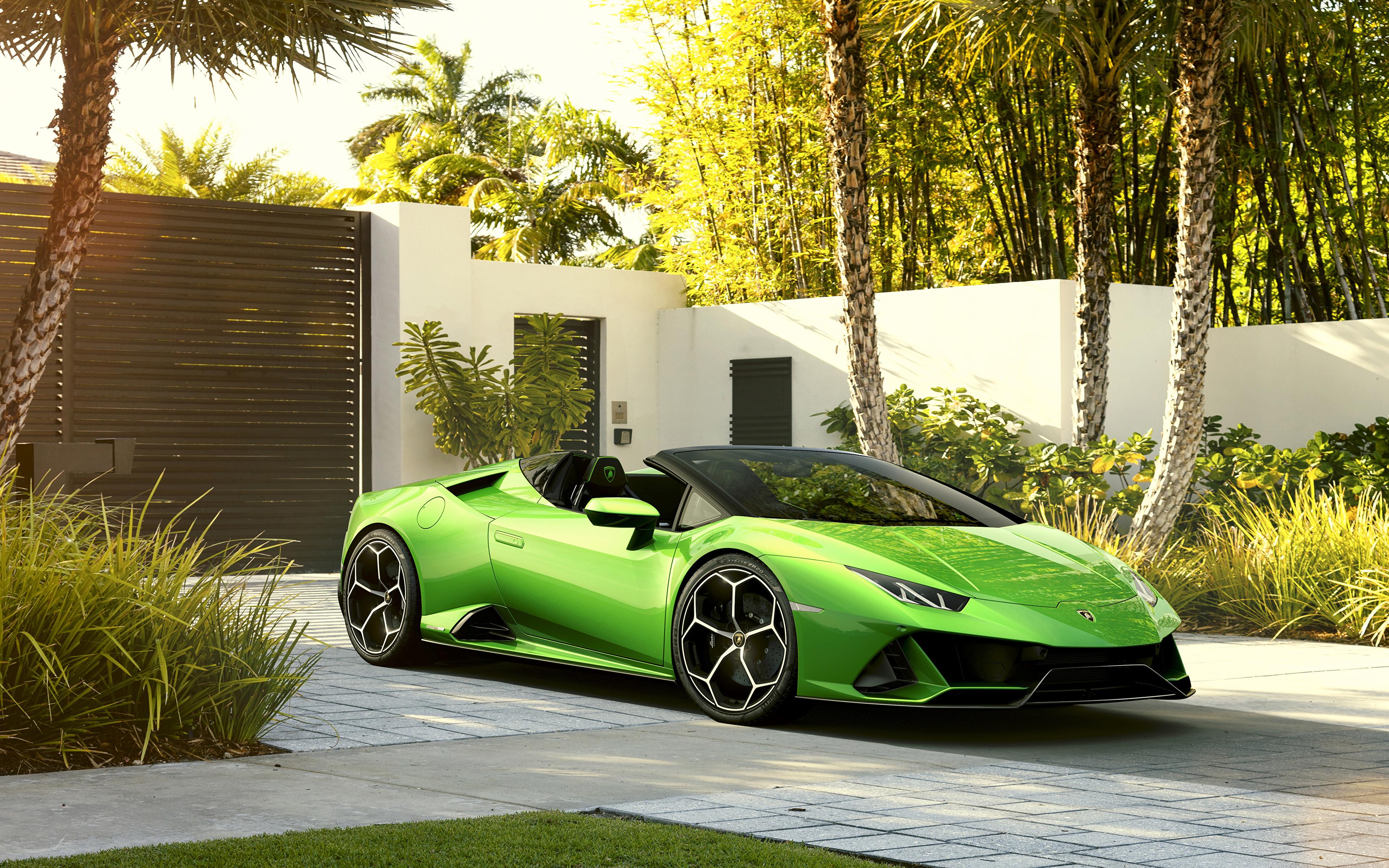 Фотографии Lamborghini 2019 Huracan EVO Spyder Родстер салатовая Металлик Автомобили 3840x2400 Ламборгини Салатовый салатовые желто зеленый авто машина машины автомобиль