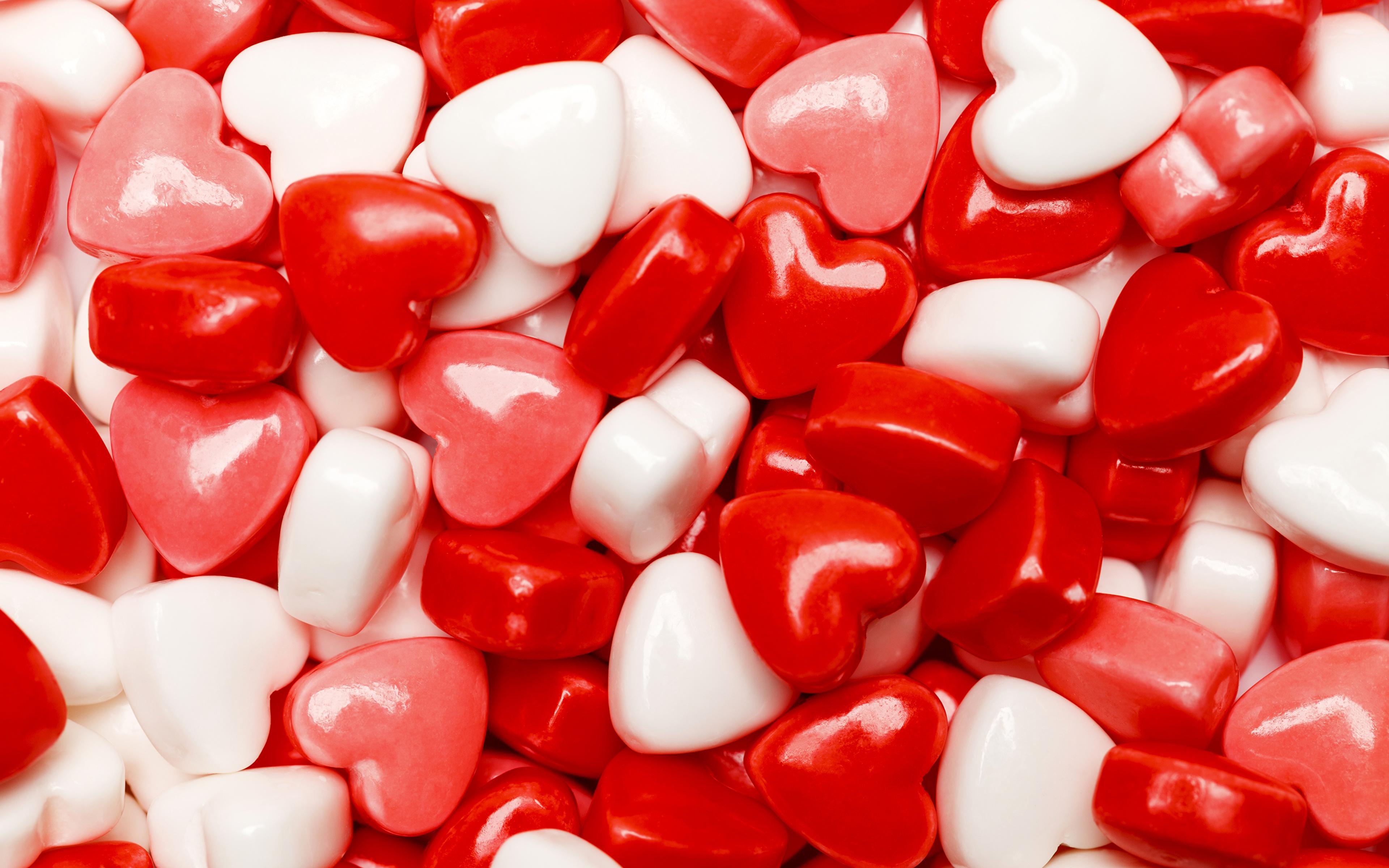 Картинка День святого Валентина Сердце Леденцы Продукты питания Сладости 3840x2400 День всех влюблённых серце сердца сердечко Еда Пища
