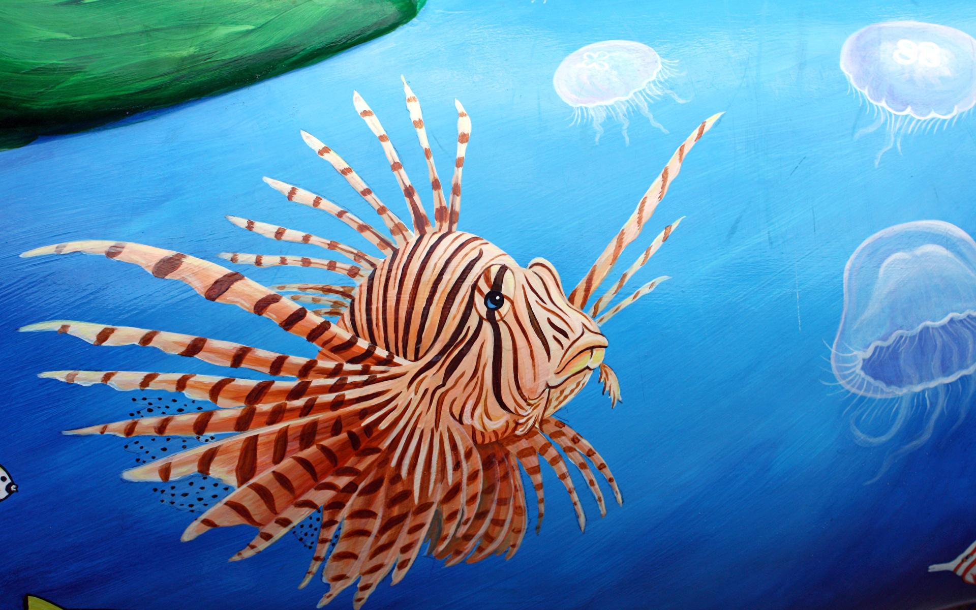 Картинка крылатка Рыбы Подводный мир Животные Рисованные 1920x1200 Крылатки животное