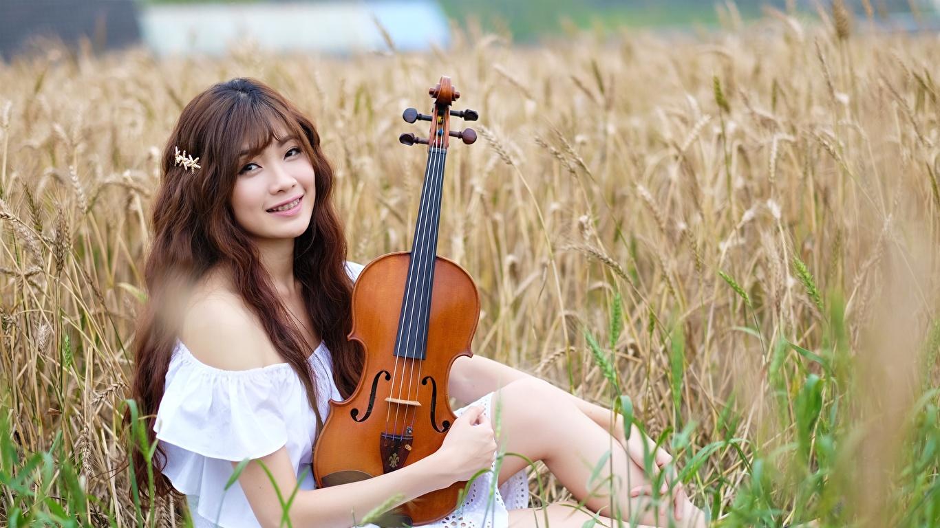 Фото Скрипки шатенки Улыбка Размытый фон молодая женщина Поля Азиаты Сидит смотрят 1366x768 скрипка Шатенка улыбается боке девушка Девушки молодые женщины азиатки азиатка сидя сидящие Взгляд смотрит