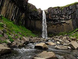 Обои Водопады Ручей Svartifoss Skaftafell National Park Исландия Природа