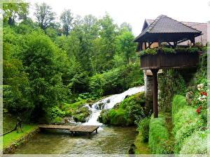Обои Водопады Ручей Хорватия Слунь Природа