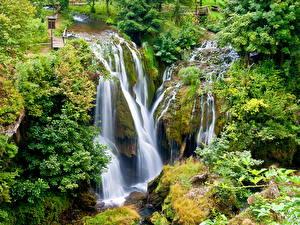 Обои Водопады Ручей Rastoke Хорватия Природа