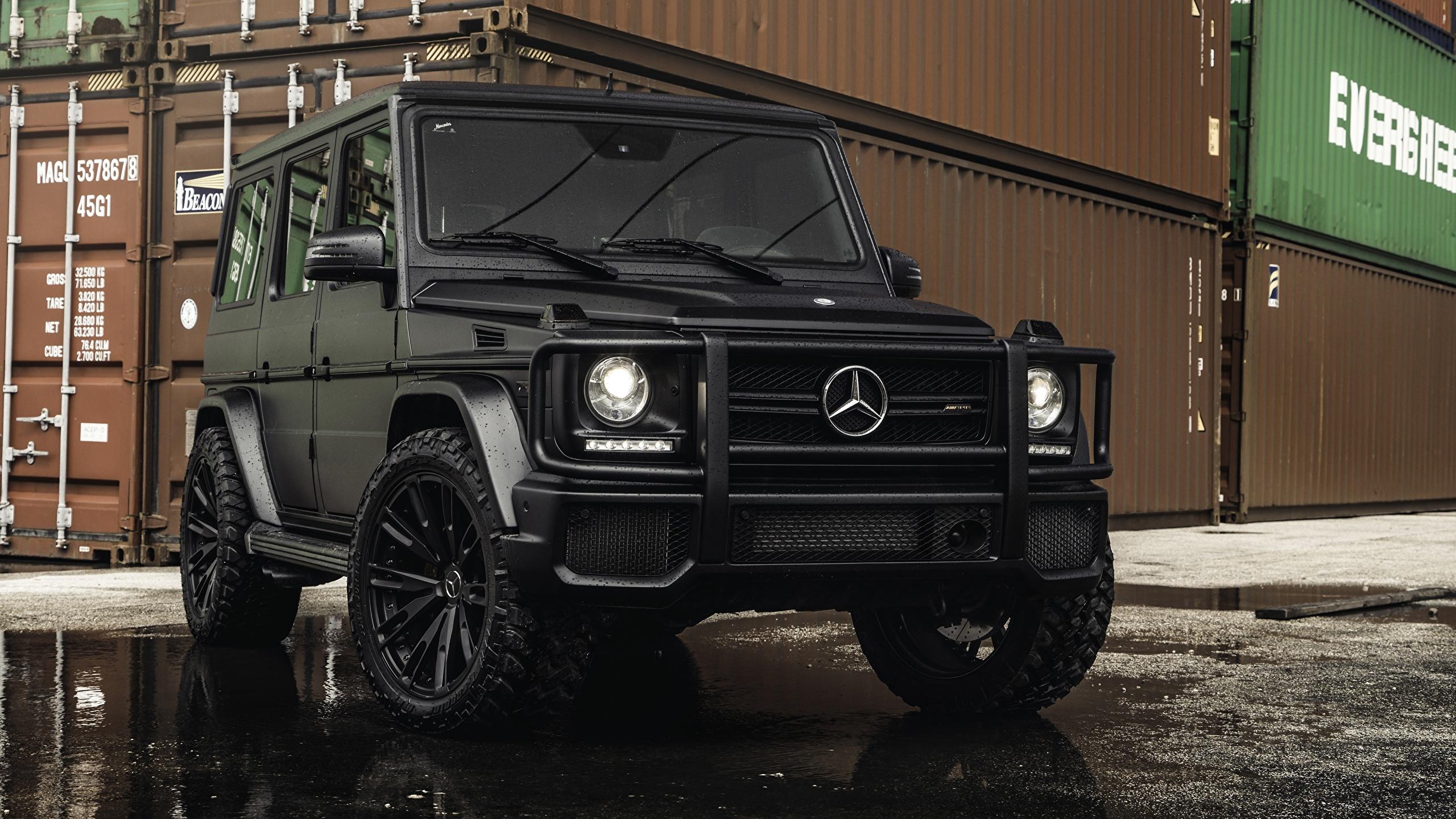 Фото Mercedes-Benz гелентваген G63 AMG Черный машина 2560x1440 Мерседес бенц G-класс черных черные черная авто машины автомобиль Автомобили