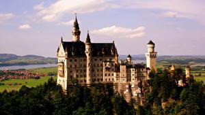 Обои Замки Германия Небо Нойшванштайн Города