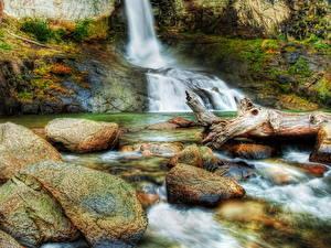 Обои Водопады Камни HDRI Ручей Природа