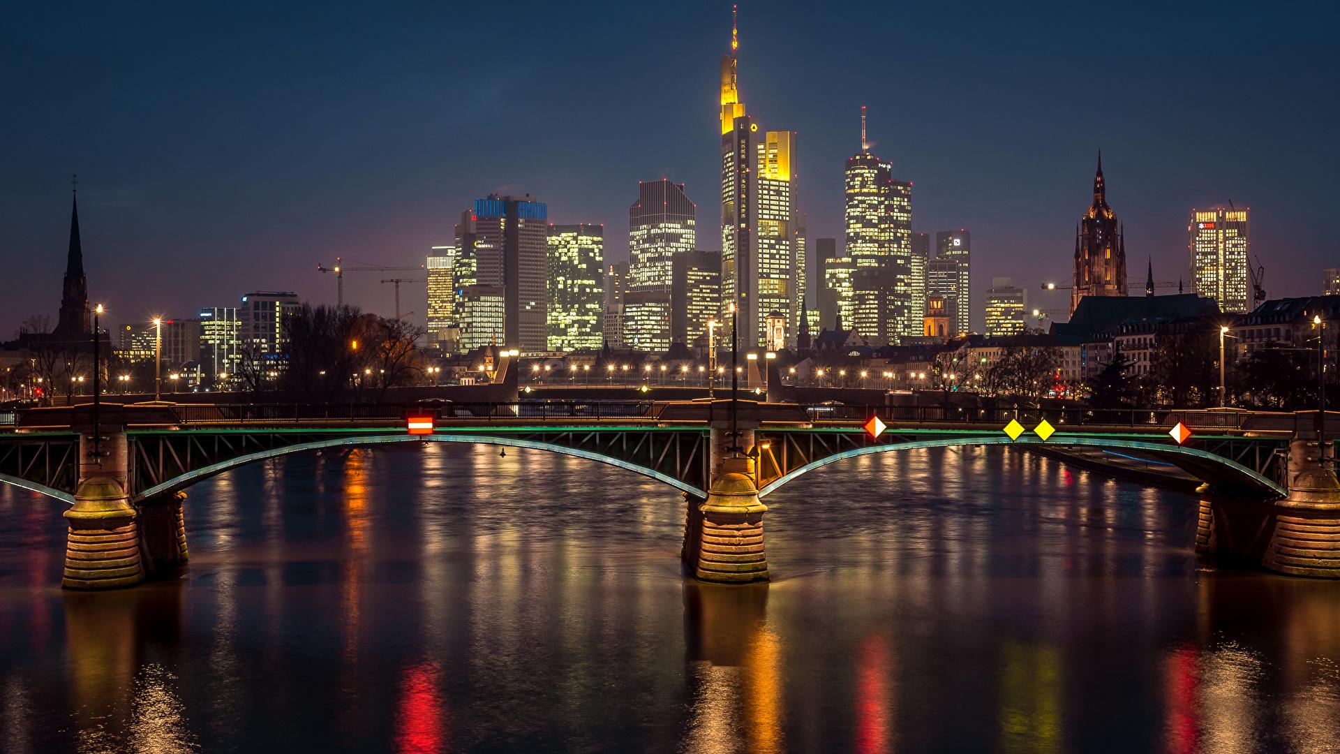 страны архитектура вечер город Франкфурт-на-Майне Германия смотреть