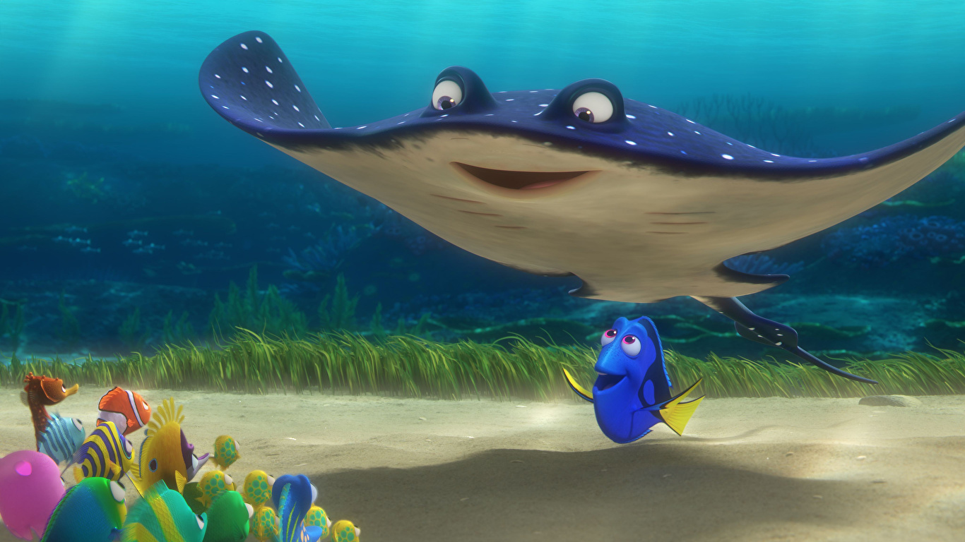 Фотография Рыбы Скаты Подводный мир Finding Dory 3д Мультики 1366x768 мультик 3D Графика Мультфильмы