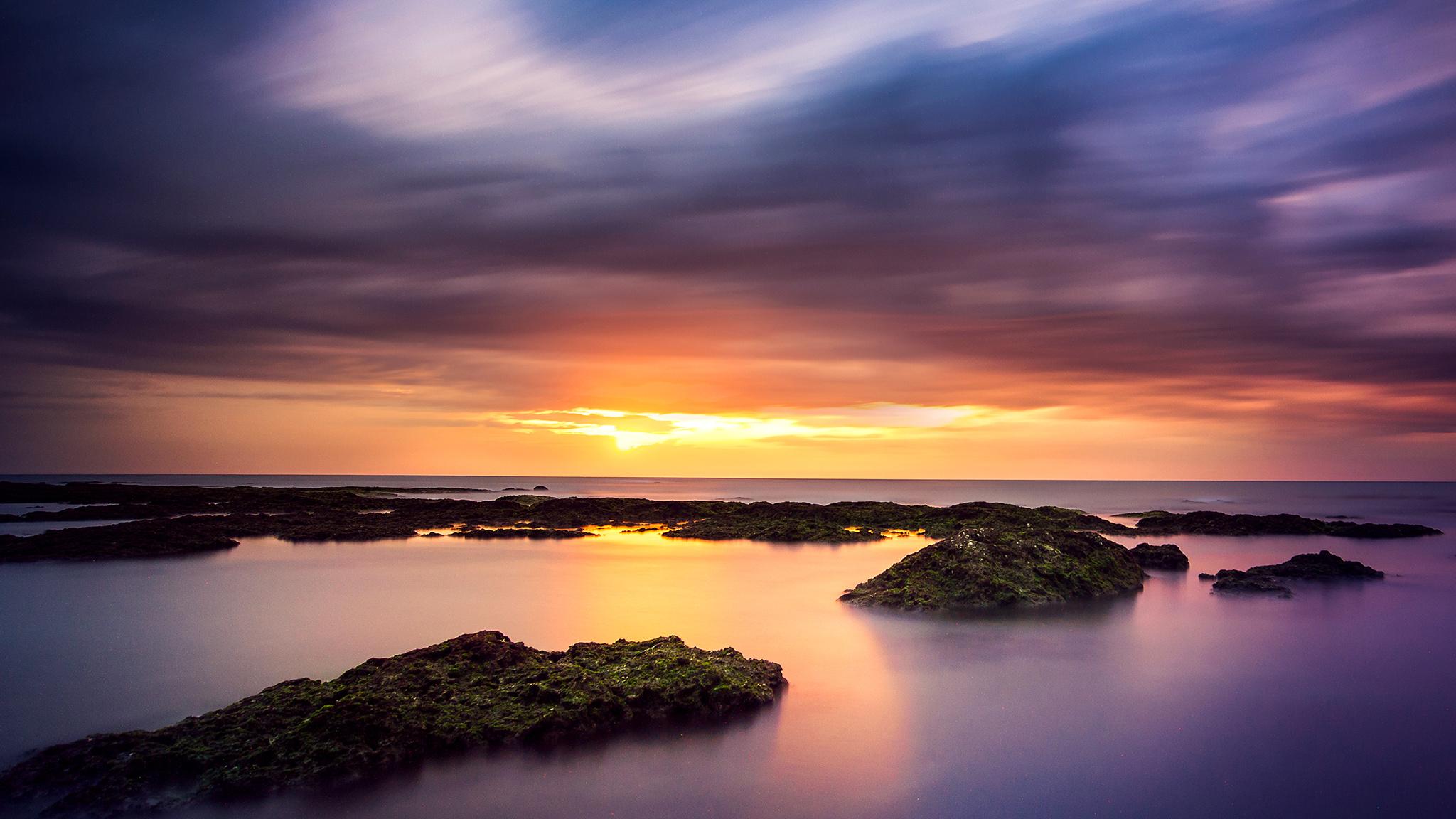 Скалы закат небо облака море загрузить