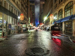 Обои Штаты Дороги Нью-Йорк Уличные фонари HDR Ночь Асфальт Города