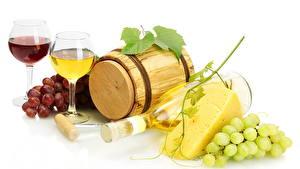 Картинки Фрукты Виноград Вино Бокалы