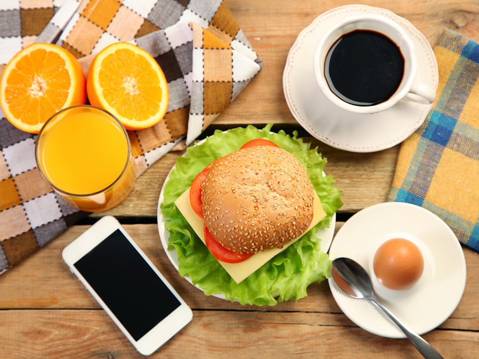 Фотография яйцами Сок Кофе Апельсин телефона Стакан бутерброд Еда Чашка Натюрморт 1600x1200 яиц яйцо Яйца Телефон телефоном стакана стакане Бутерброды Пища чашке Продукты питания