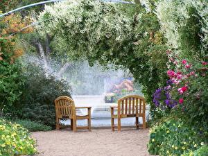 Картинки Сады Фонтаны США Скамья Колорадо Денвер Природа
