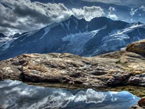 Обои Гора Камни Небо Австрия Облачно HDR Альп Природа