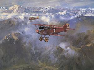 Картинки Самолеты Рисованные Гора Ретро Облачно Летящий Авиация