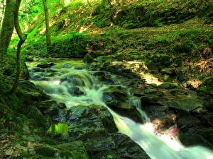 Картинка Водопады Камень Зеленый Мох Ручей Ziegelbach Природа