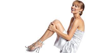 Фотография Deanna Russo Смотрят Улыбается Ног Туфлях Серег Платья Шатенка Знаменитости Девушки