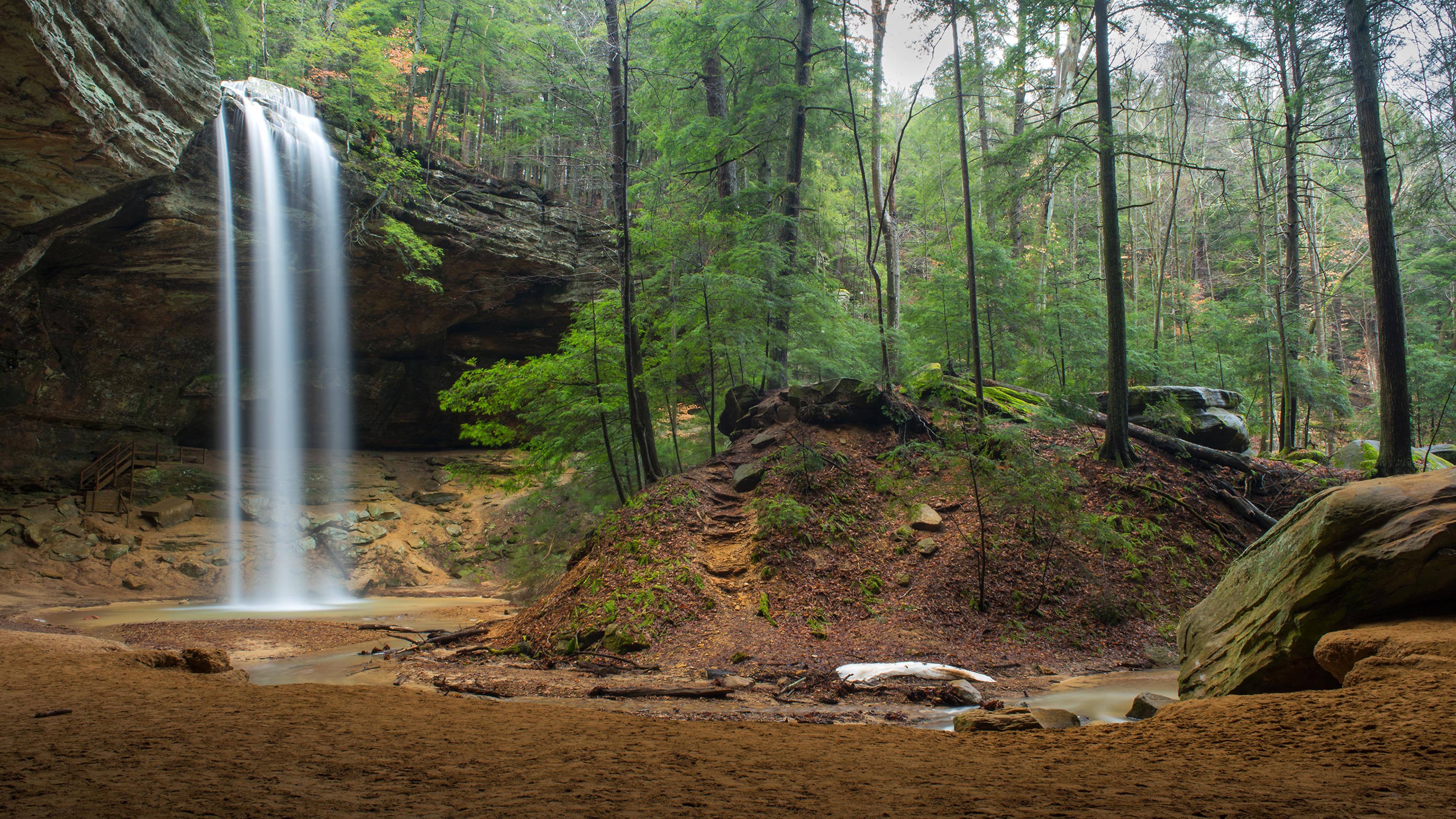 Фото США Hocking Hills Ohio Утес Природа Водопады парк Леса 3840x2160 штаты америка Скала скале скалы лес Парки
