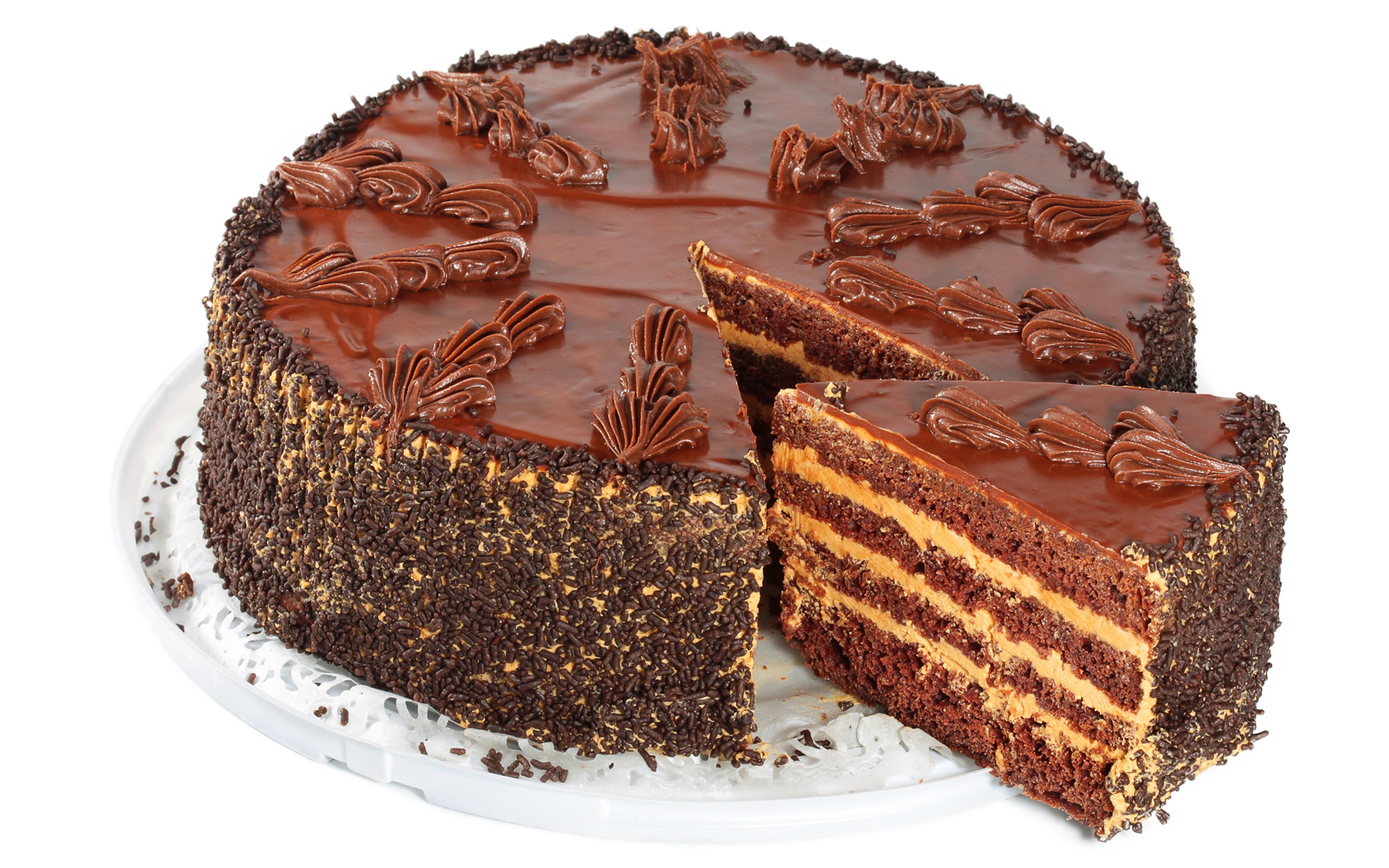 Картинки Шоколад Торты Пища белом фоне сладкая еда 3840x2400 Еда Продукты питания Сладости Белый фон белым фоном