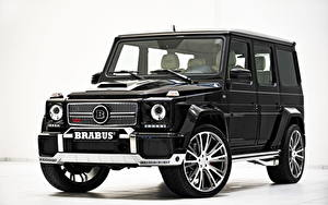 Обои Мерседес бенц G-класс Брабус Черный Спереди Фары Металлик 2013 Brabus 800 Widestar G-Klasse W463 автомобиль