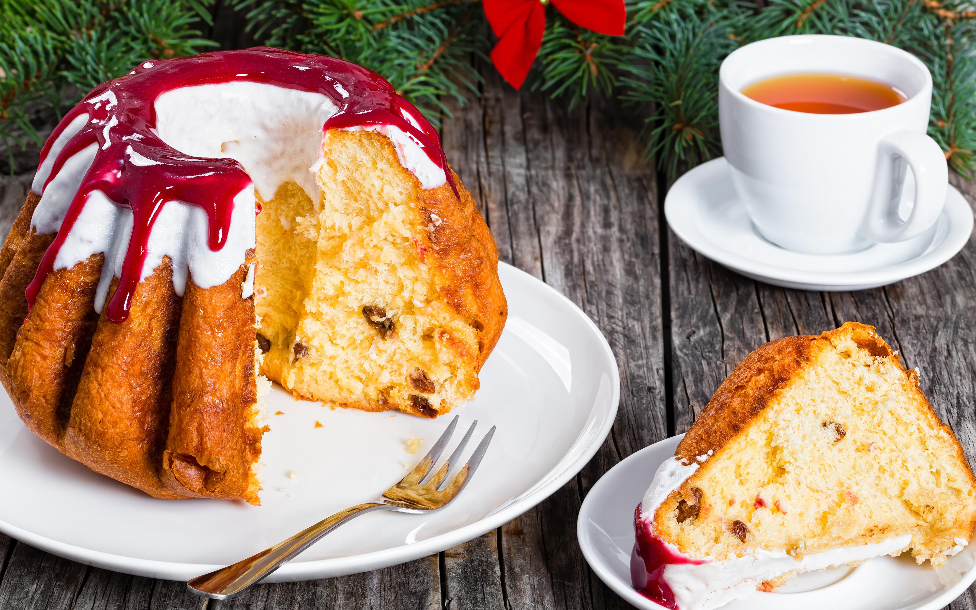 Обои для рабочего стола Рождество Чай джем Кекс Кусок Еда Чашка Выпечка 3840x2400 Новый год Варенье Повидло часть кусочки кусочек Пища чашке Продукты питания