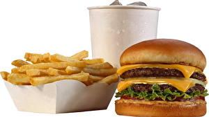 Фотографии Фастфуд Картофель фри Гамбургер Пища