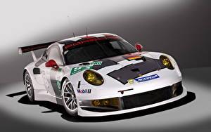 Картинка Porsche Белые Спереди 2013 911 RSR машины