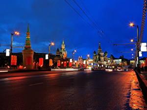 Фотографии Москва Мосты Дороги Россия Ночь Большой Москворецкий город
