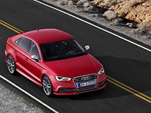 Картинка Audi Дороги Красный Асфальт 2013 S3 Автомобили