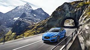Картинки Jaguar Дороги Горы Голубой Скала 2013 XFR-S Автомобили