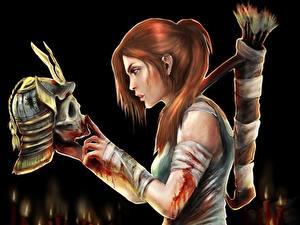 Обои Tomb Raider Tomb Raider 2013 Воин Черепа Шлем Лара Крофт Рыжая компьютерная игра Девушки