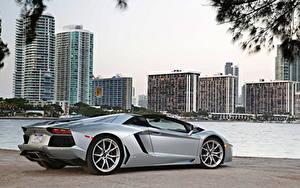 Обои Ламборгини Серебряный Дорогие Сбоку Родстер 2012 Aventador LP700-4 roadster автомобиль