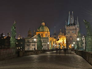 Фотография Чехия Мосты Прага Ночь Города