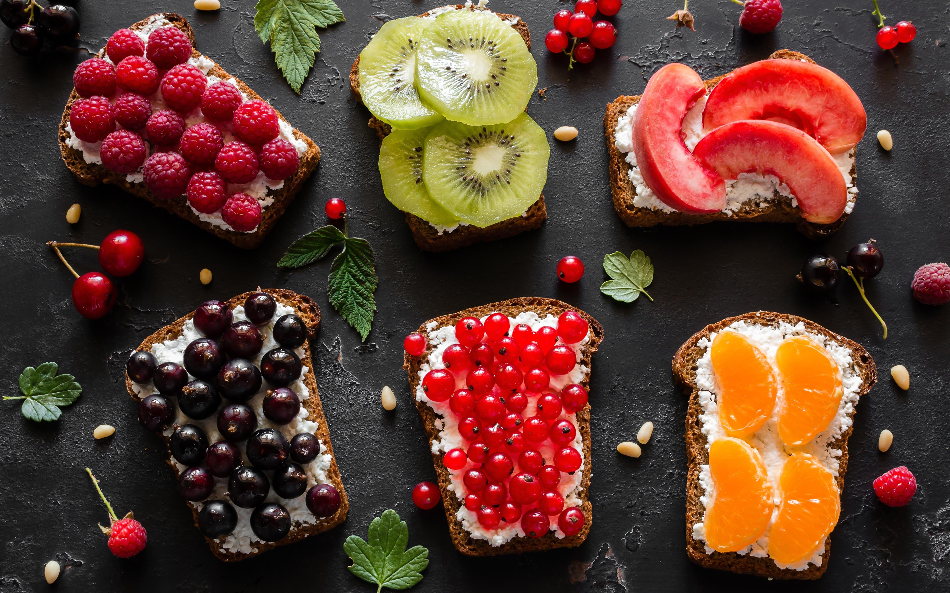 Картинки Апельсин Киви Хлеб Малина Персики Смородина Бутерброды Еда 3840x2400 бутерброд Пища Продукты питания