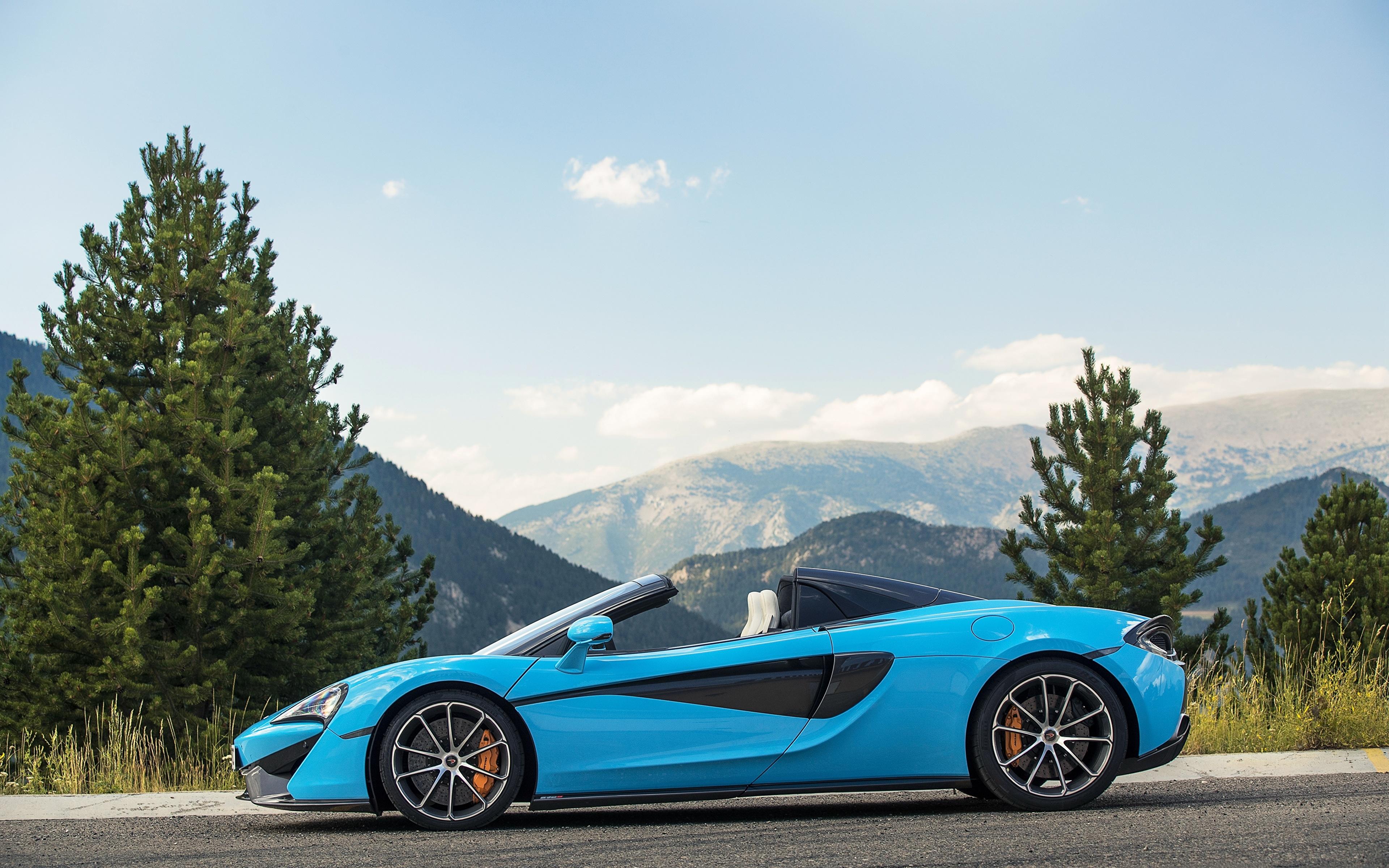 Картинка Макларен 2017 570S Spider Worldwide Родстер голубая Сбоку машины Металлик 3840x2400 McLaren голубых голубые Голубой авто машина автомобиль Автомобили