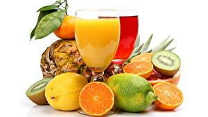 Картинки Напиток Сок Цитрусовые Апельсин Бокалы