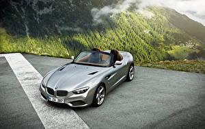 Фотографии BMW Горы Серебристый Кабриолет Родстер 2012 Roadster Zagato