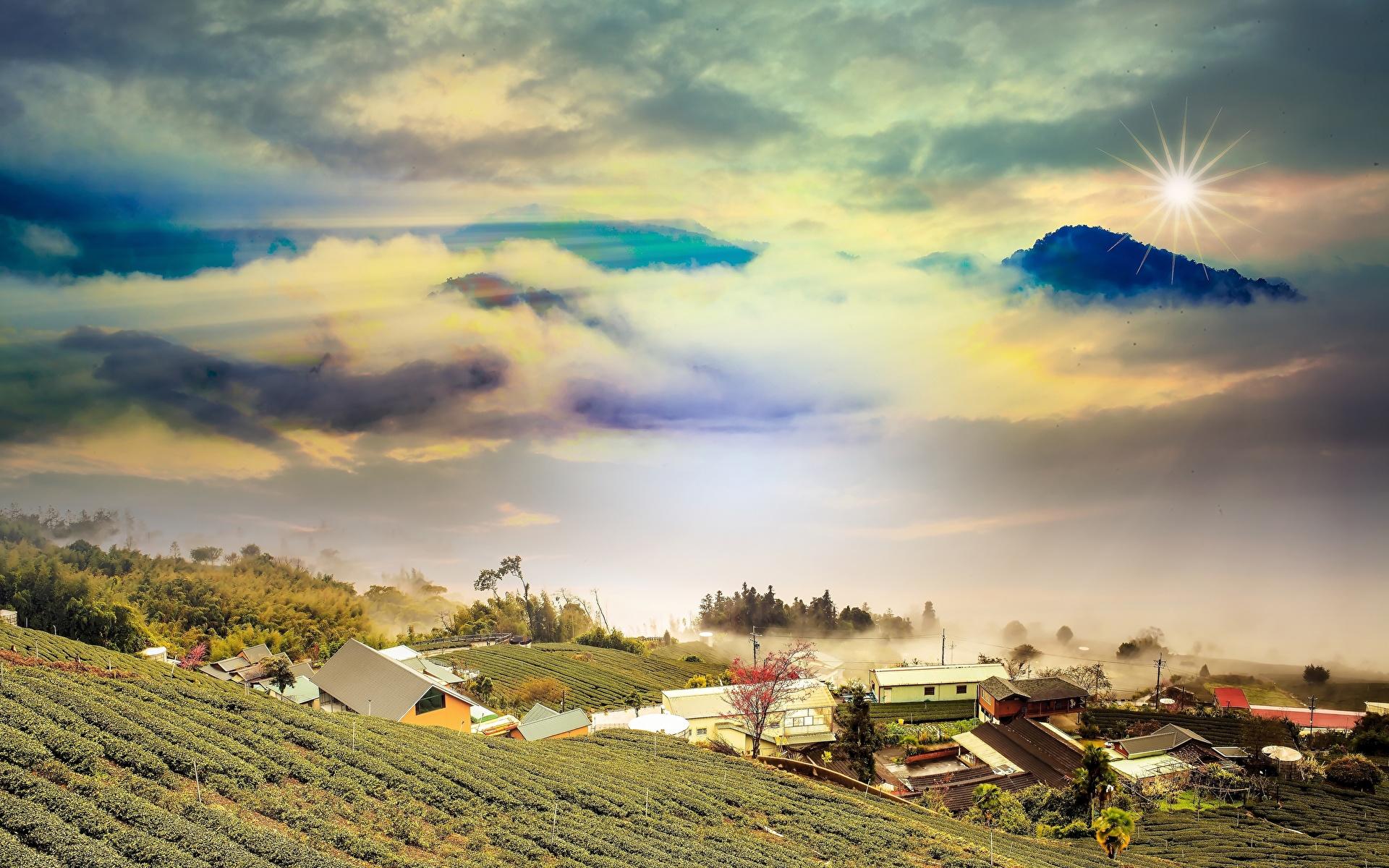 Фотографии гора Природа Поля Пейзаж облако 1920x1200 Горы Облака облачно