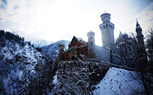 Картинки Замки Германия Зима Нойшванштайн Снег