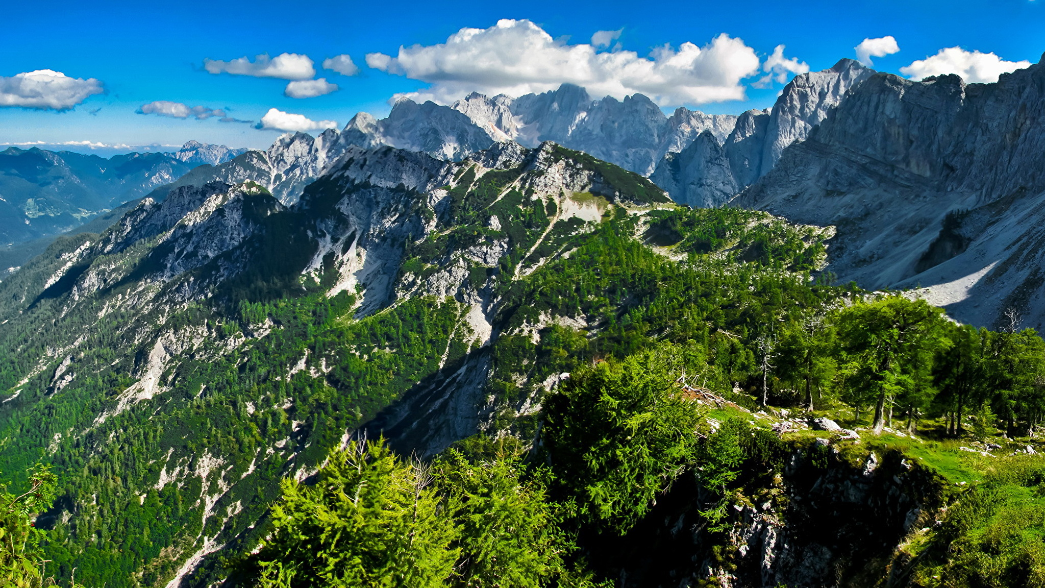 Зеленый склон горы смотреть