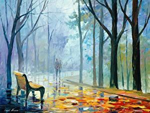 Картинка Картина Парки Осень Дерево Скамья Leonid Afremov Города