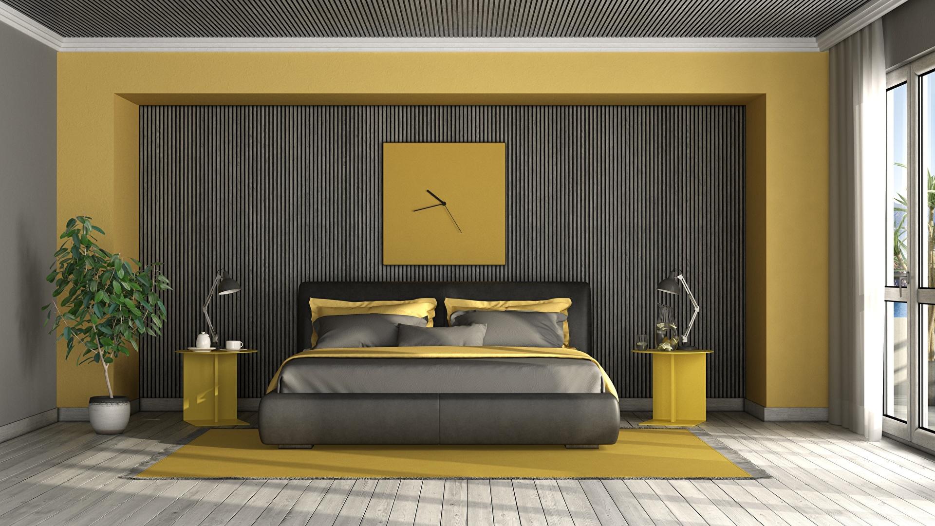 Фото спальне 3д Часы Комната Интерьер лампы постель Дизайн 1920x1080