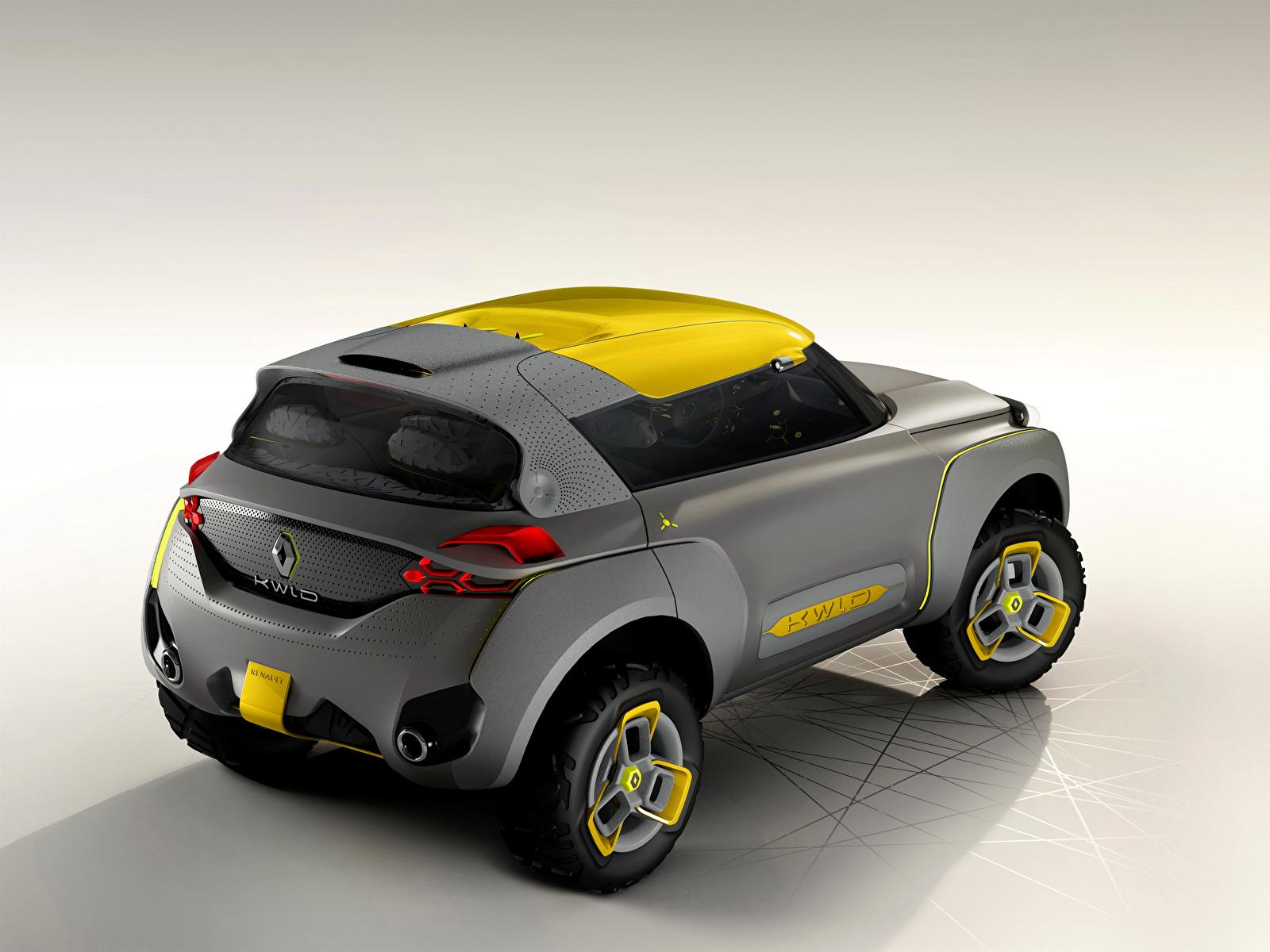 Картинки Renault 2014 Kwid серые Сзади автомобиль 1600x1200 Рено Серый серая авто машина машины вид сзади Автомобили