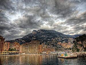 Картинки Монако Берег Небо Здания Горы Облака HDRI Города