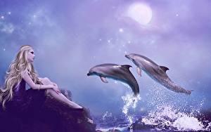Фотографии Дельфины Берег Прыжок Брызги Блондинки Луна 3D Графика Девушки Животные