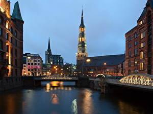 Фото Германия Реки Мост Дома Гамбург В ночи Башни город