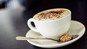 Картинка Напитки Кофе Капучино Чашке Ложка Блюдца Пища