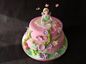 Фотография Сладкая еда Торты Розовый Цветной фон Еда