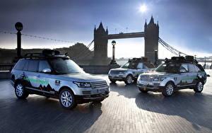 Обои Range Rover Англия Мосты Лондоне Гибридный автомобиль 2013 Range Rover SD V6 hybrid авто Города