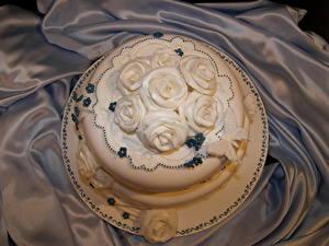 Обои Сладкая еда Торты Розы Белый
